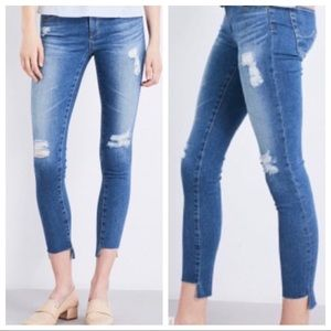 AG Jeans Middi Ankle Mid Rise Legging Distressed
